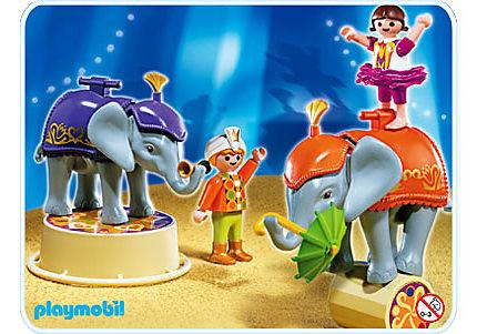 4235-A Enfants acrobates et éléphanteaux detail image 1