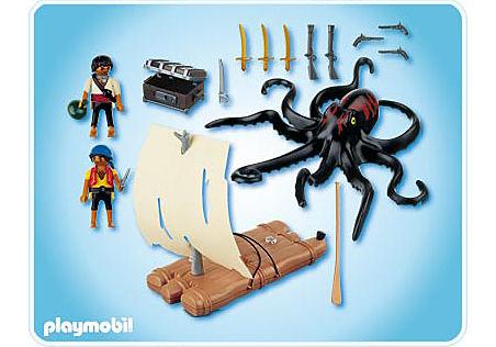 4291-A Pieuvre géante avec radeau pirate detail image 2