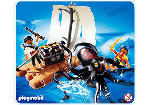 4291-A Pieuvre géante avec radeau pirate detail image 1