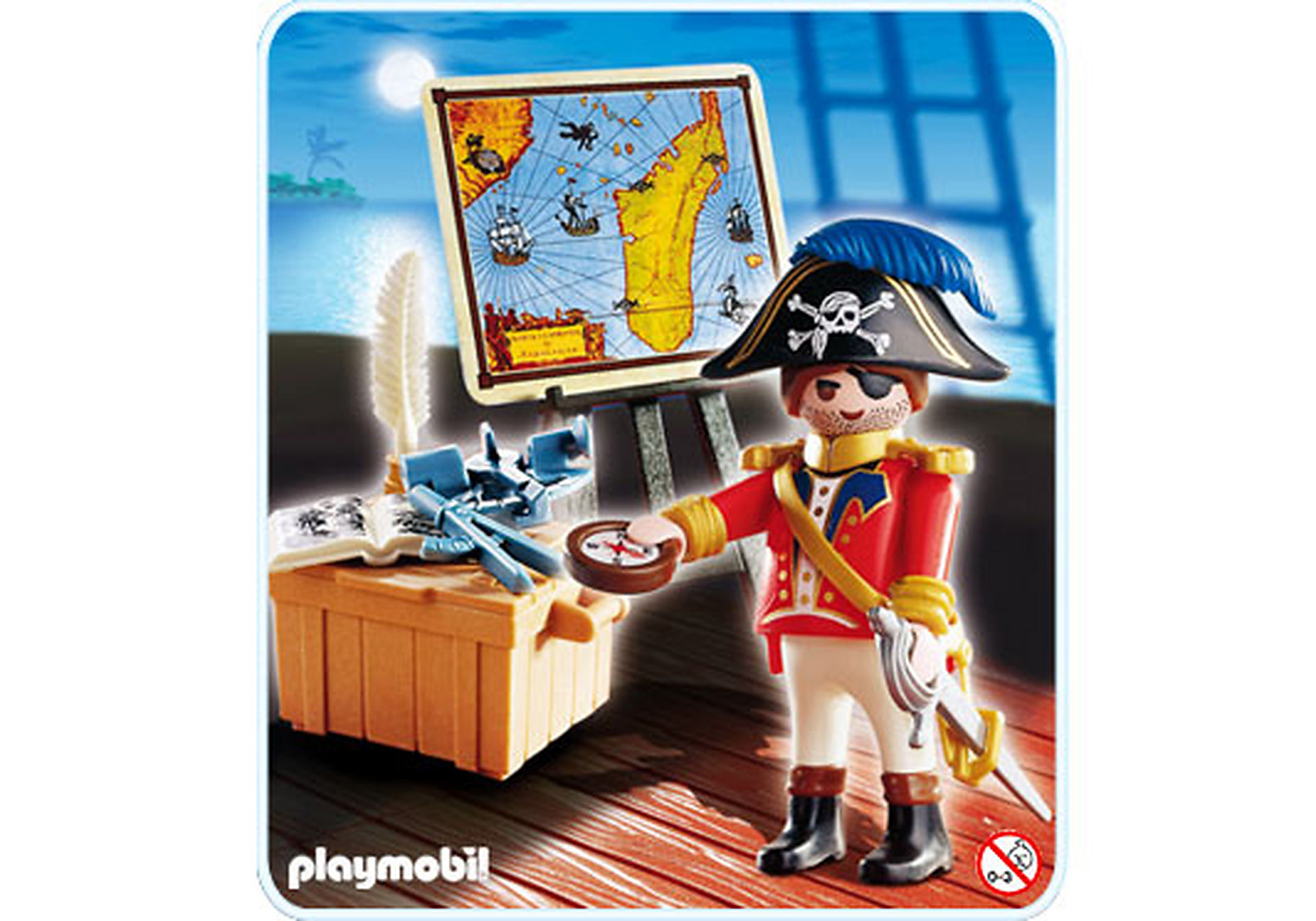 4293-A Capitaine pirate avec carte zoom image1