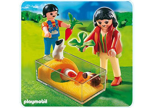 4348-A Enfants avec terrarium et cochons d'Inde detail image 1