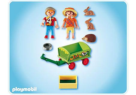 4349-A Enfants avec chariot et petits animaux detail image 2