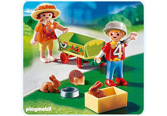 4349-A Enfants avec chariot et petits animaux detail image 1