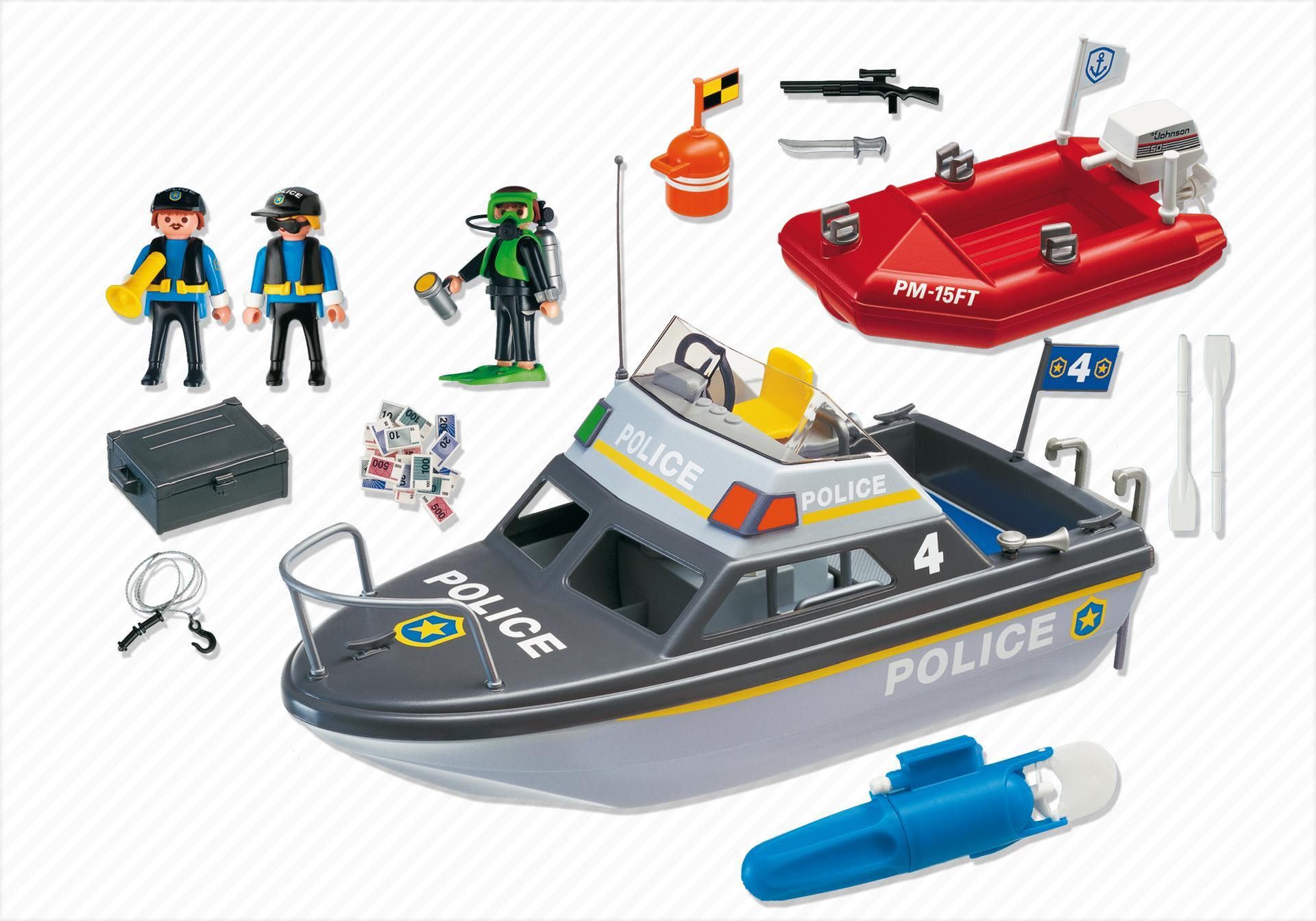 vedette de police et bateau de bandit 4429 a playmobil. Black Bedroom Furniture Sets. Home Design Ideas