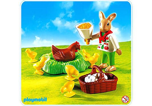 4452-A Osterhäschen mit Huhn und Kükenschar detail image 1