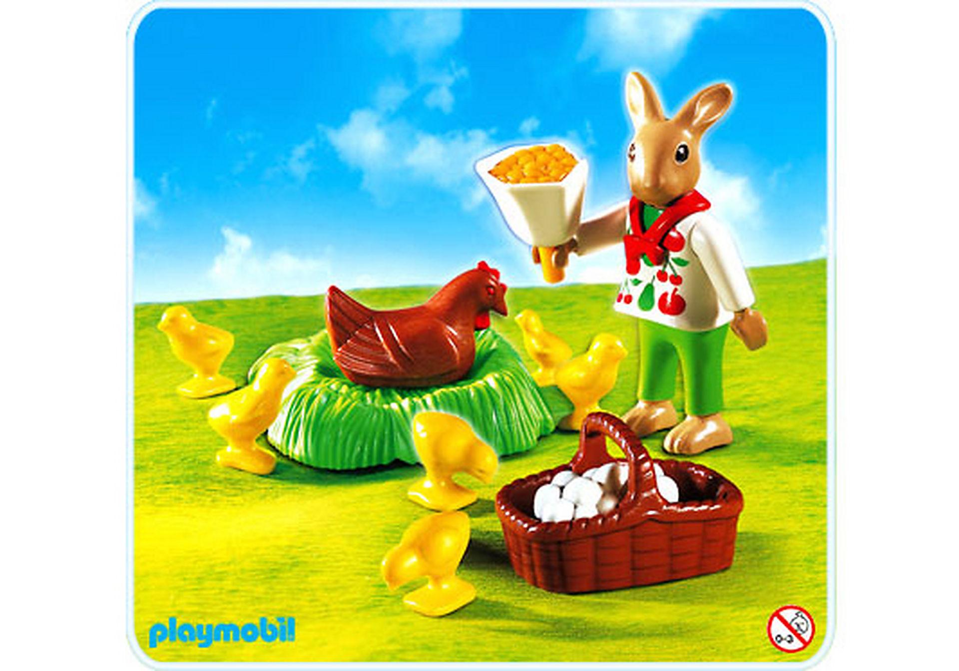 4452-A Osterhäschen mit Huhn und Kükenschar zoom image1