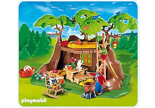 4460-A Famille de lapins et maison detail image 1