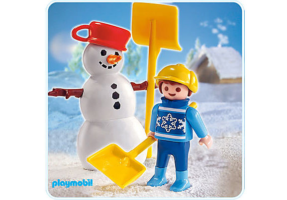 4680-A Enfant et bonhomme de neige detail image 1