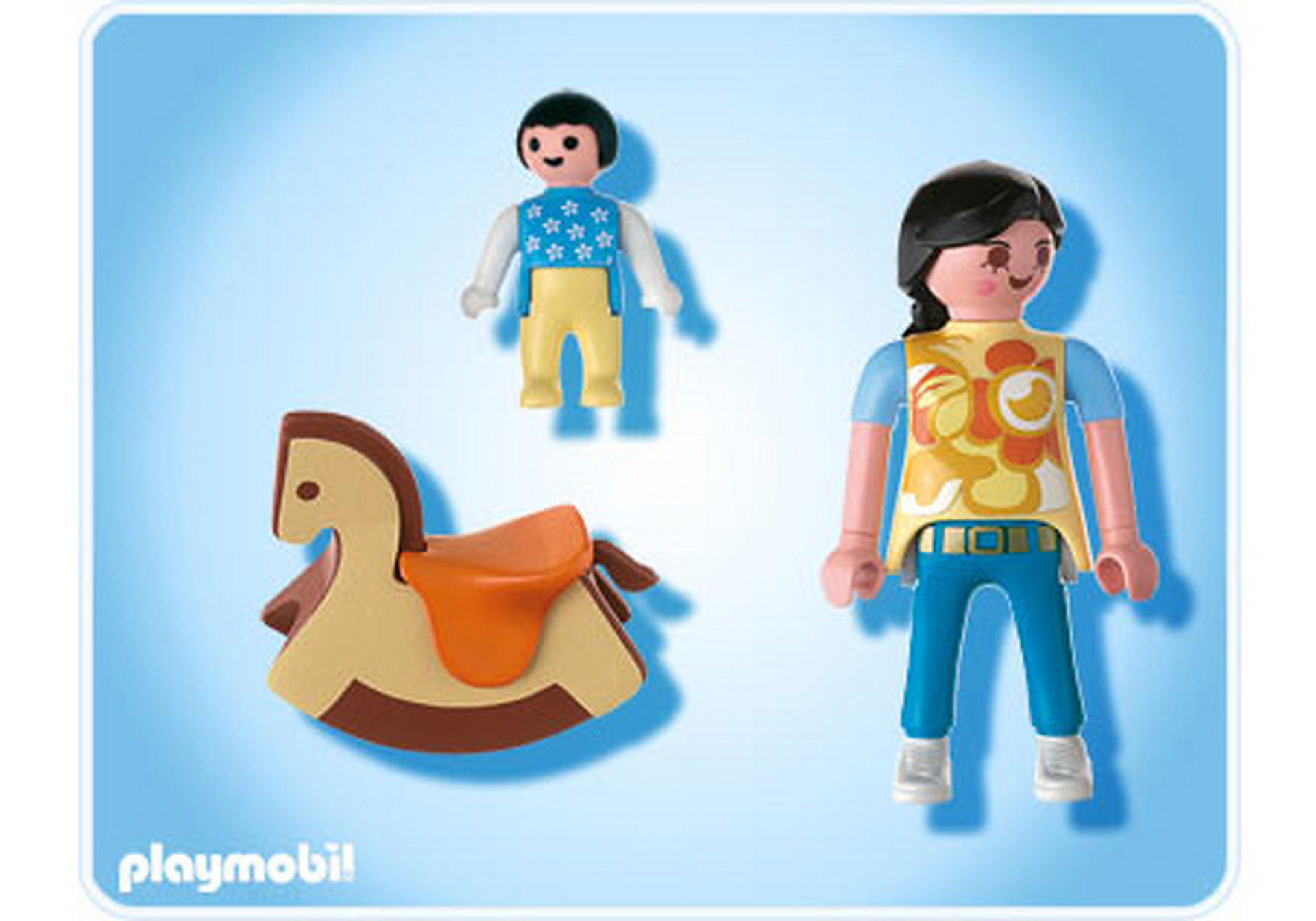 4744-A Maman avec bébé sur cheval à bascule zoom image2
