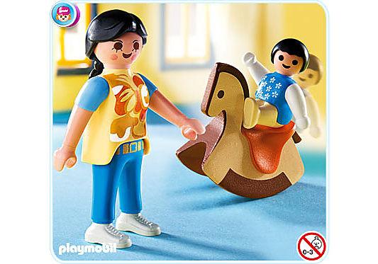 4744-A Maman avec bébé sur cheval à bascule detail image 1