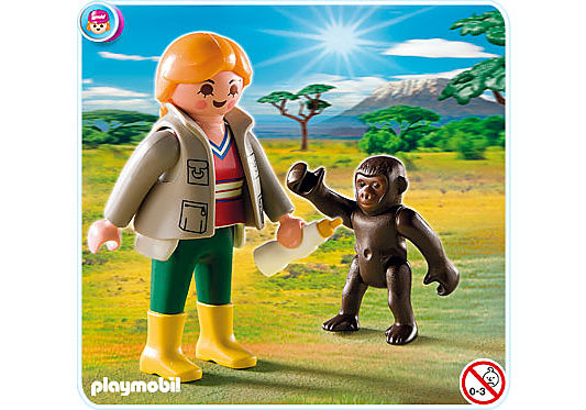 4757-A Tierpflegerin mit Gorilla-Baby detail image 1