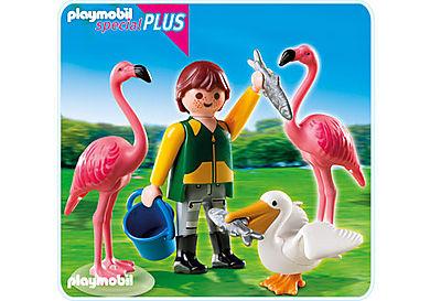 4758-A Tierpfleger mit exotischen Vögeln