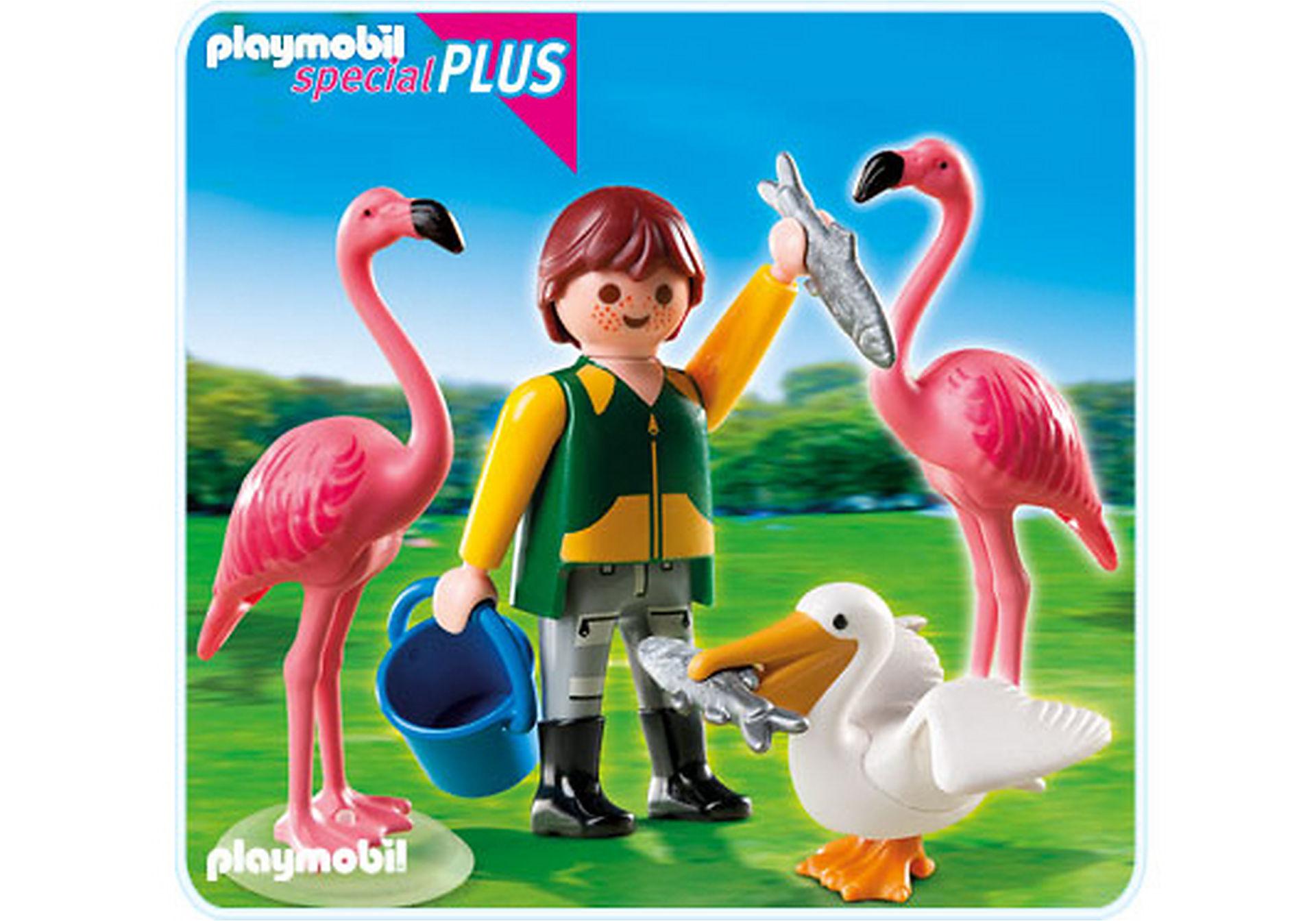 4758-A Tierpfleger mit exotischen Vögeln zoom image1