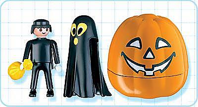 4771-A Citrouille halloween avec fantôme noir detail image 2