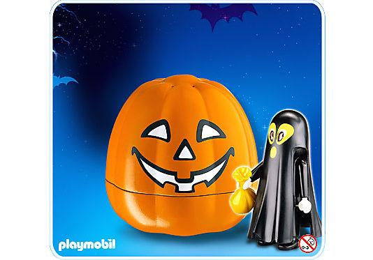4771-A Citrouille halloween avec fantôme noir detail image 1