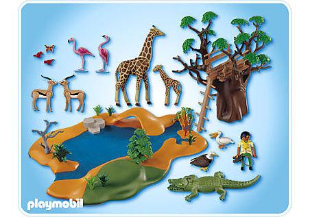 4827-A Poste d'observation et animaux de la savane detail image 2
