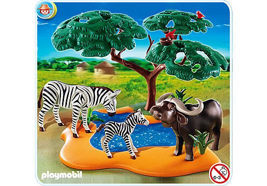 4828-A Buffle africain avec zèbres detail image 1