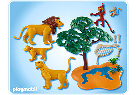 4830-A Famille de lions avec singes detail image 2