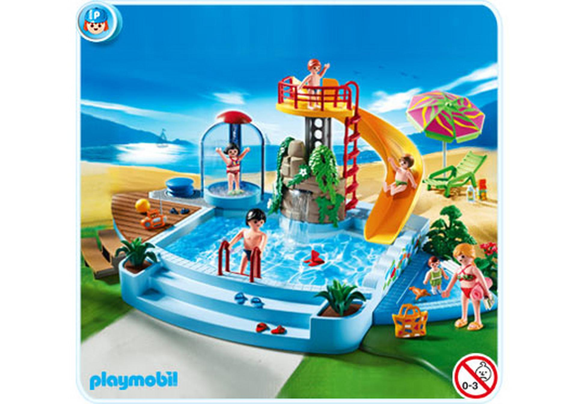 Pool with water slide 4858 a playmobil for Piscine playmobil