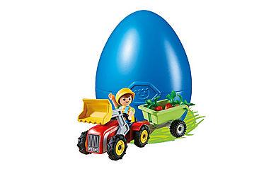 4943 Enfant avec tracteur et remorque