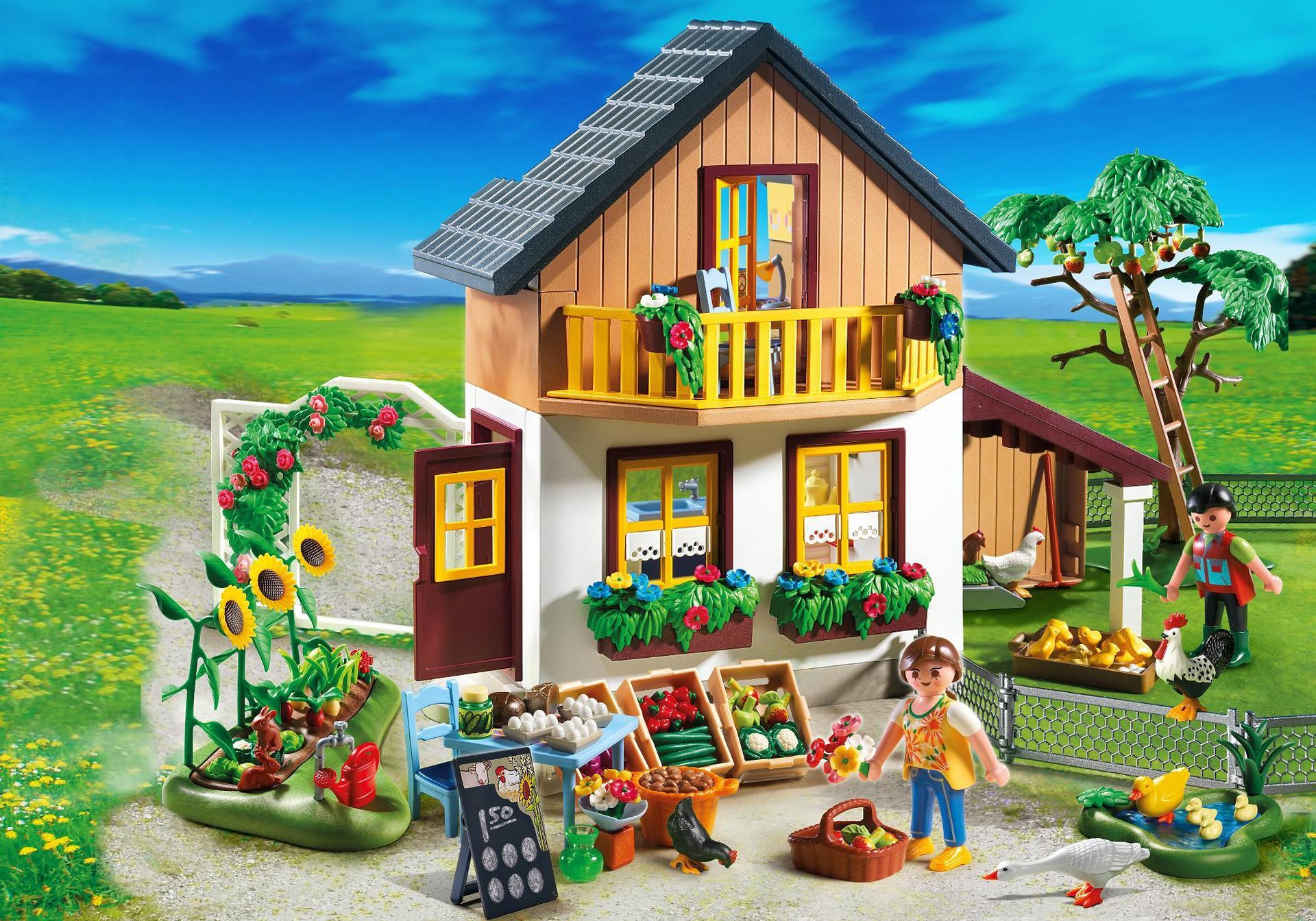 Maison des fermiers et march 5120 playmobil france - Maison en bois playmobil ...