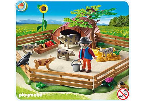 5122-A Fleckschweine im Gehege detail image 1