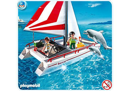 5130-A Katamaran mit Delfinen detail image 1