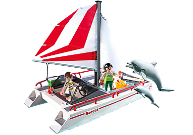 5130_product_detail/Catamaran with Dolphins
