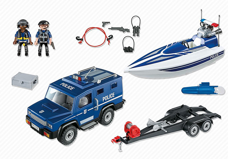 5187 Police Truck with Speedboat detail image 3