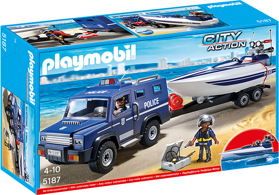 5187 Police Truck with Speedboat detail image 2