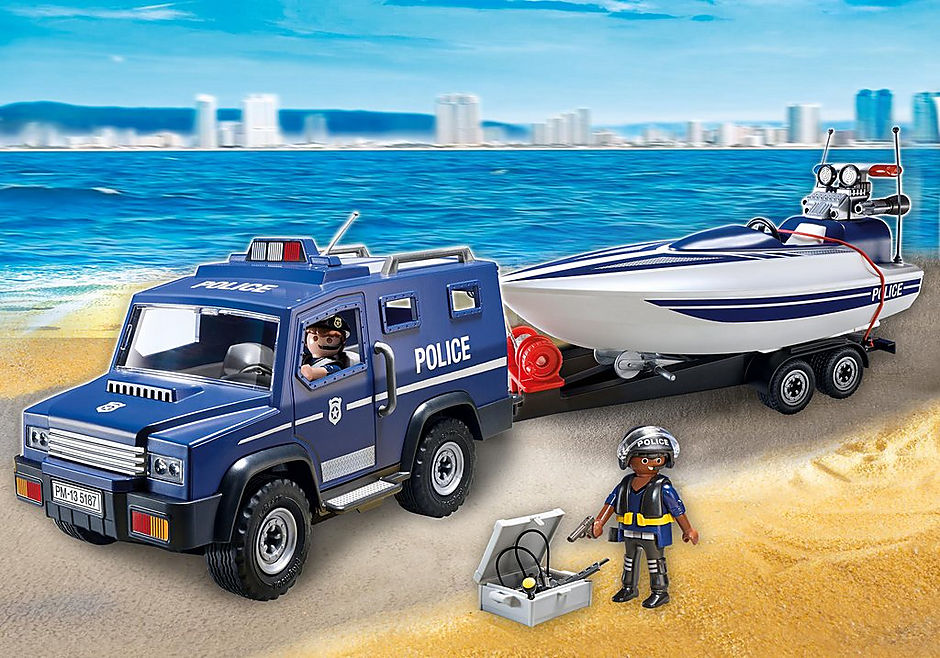 5187 Police Truck with Speedboat detail image 1