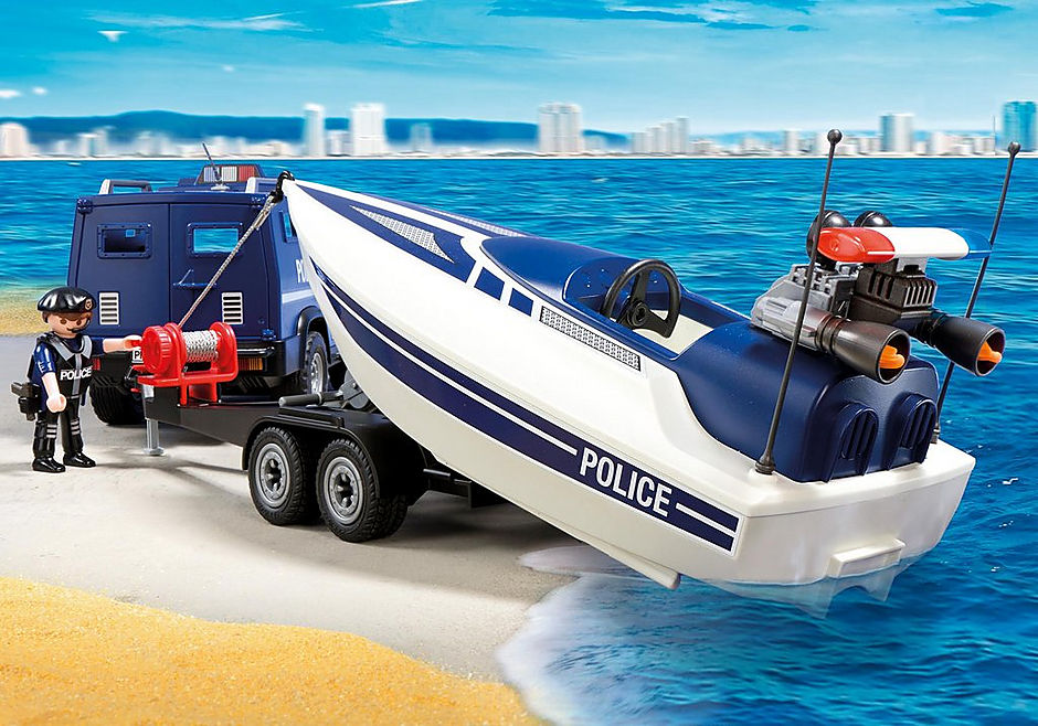 5187 Police Truck with Speedboat detail image 4