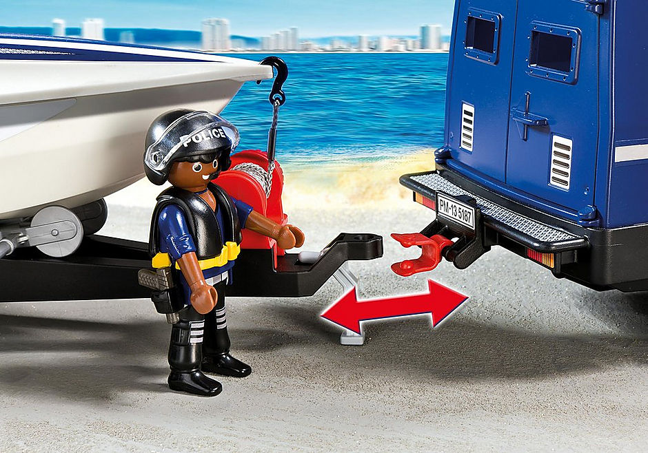 5187 Police Truck with Speedboat detail image 5