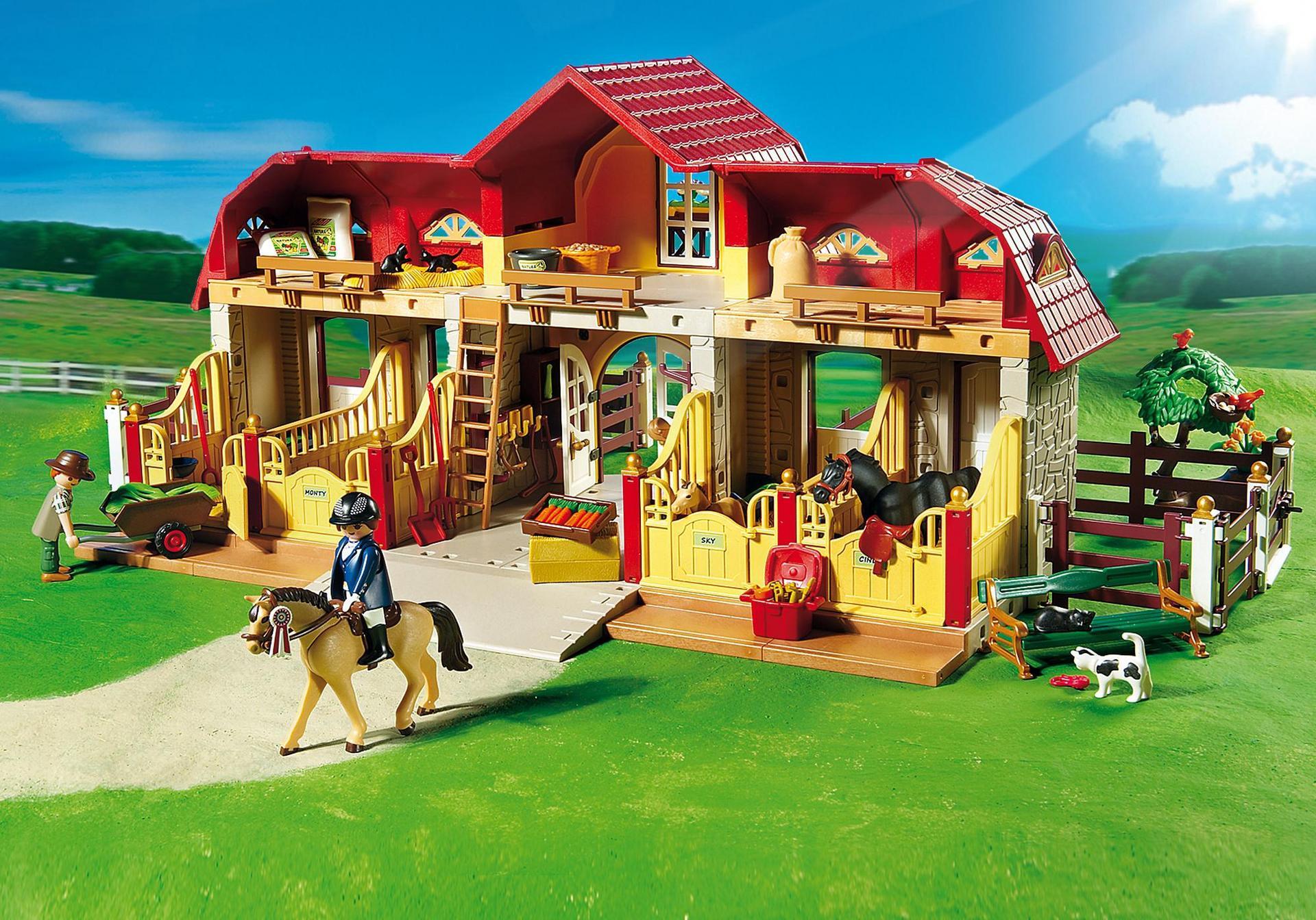 Haras avec chevaux et enclos 5221 playmobil france - Playmobil haras ...