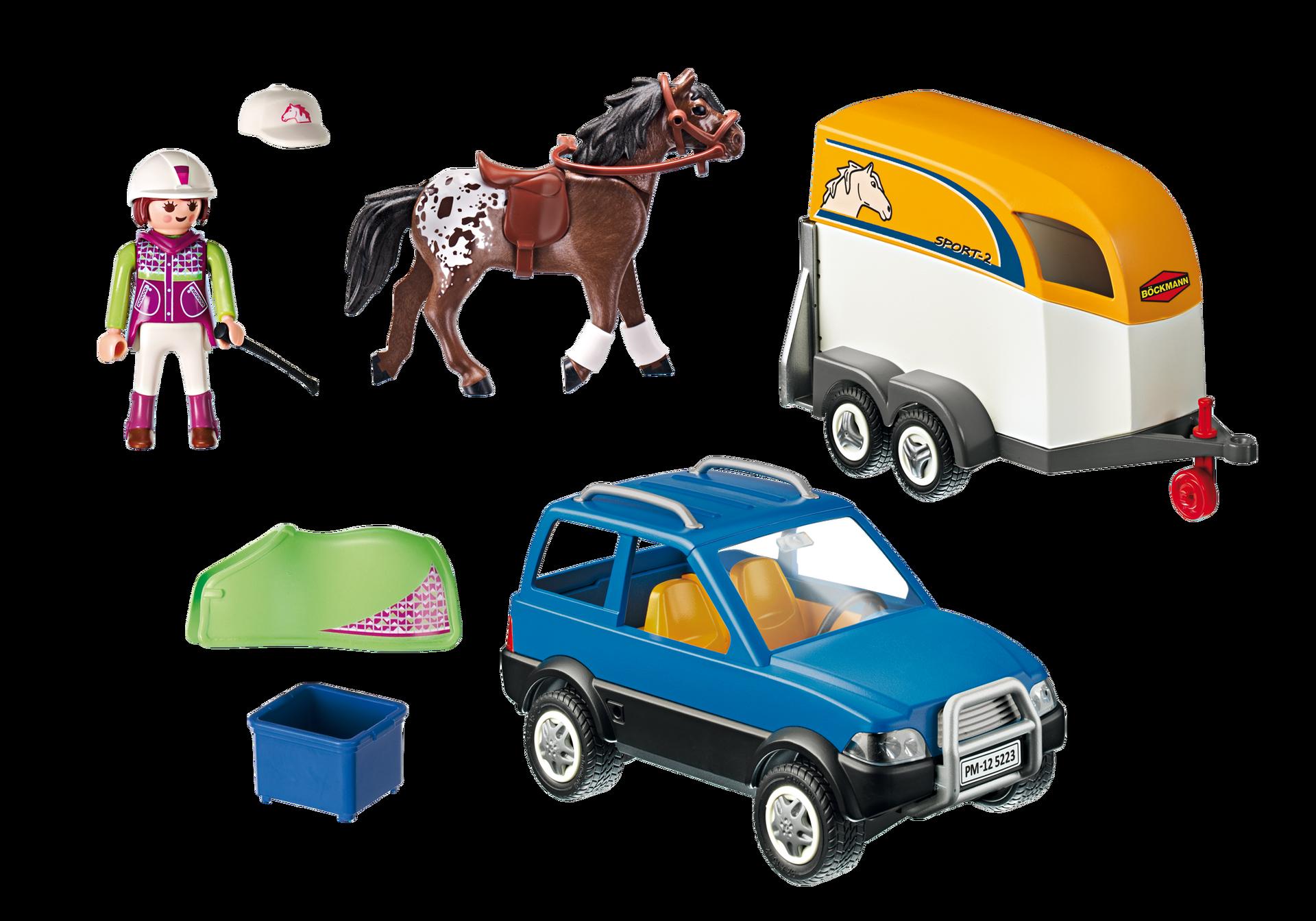 voiture avec remorque et cheval 5223 playmobil france. Black Bedroom Furniture Sets. Home Design Ideas