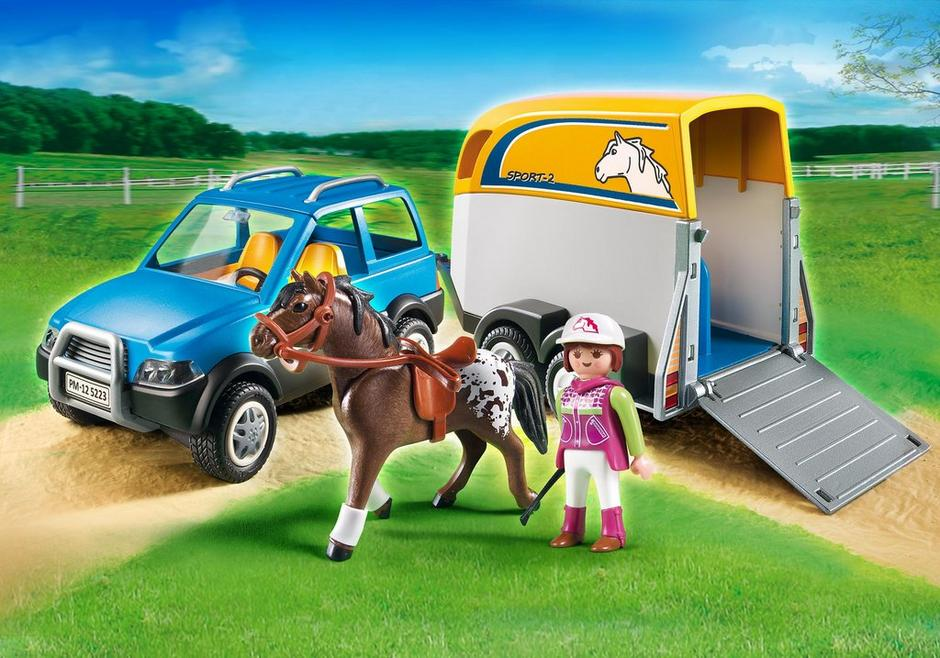 voiture avec remorque et cheval 5223 playmobil france. Black Bedroom Furniture Sets. Home Design Ideas