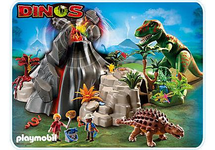 5230-A T-Rex und Saichania beim Vulkan detail image 1