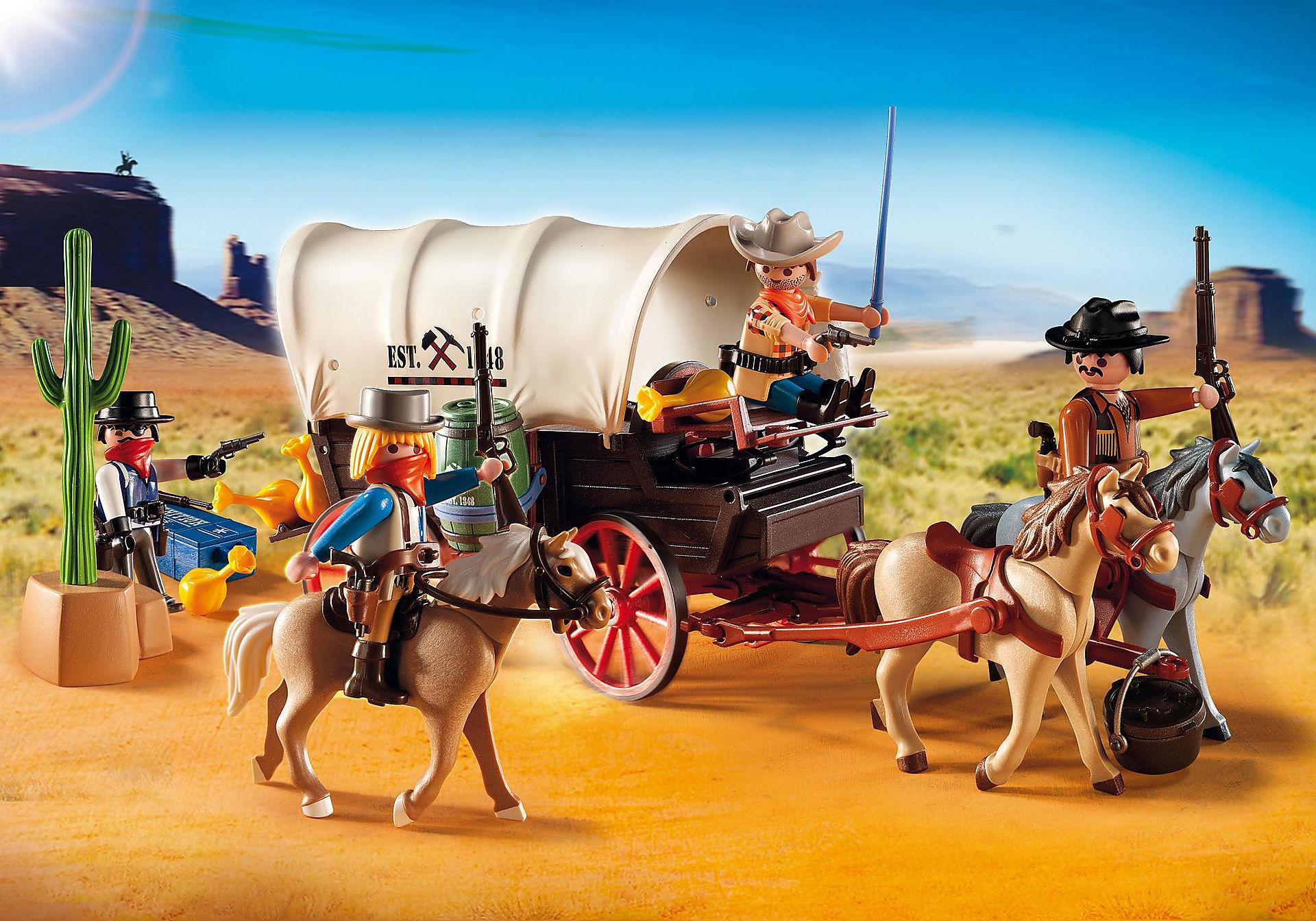 5248 Chariot avec cow-boys et bandits zoom image1