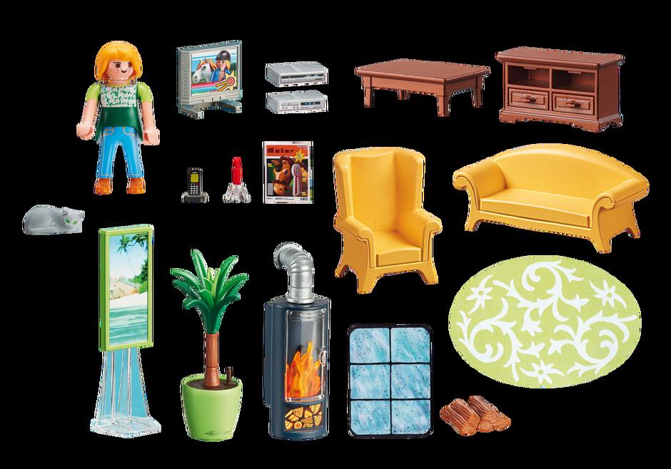 Living room with fireplace 5308 playmobil usa for Playmobil salon de coiffure