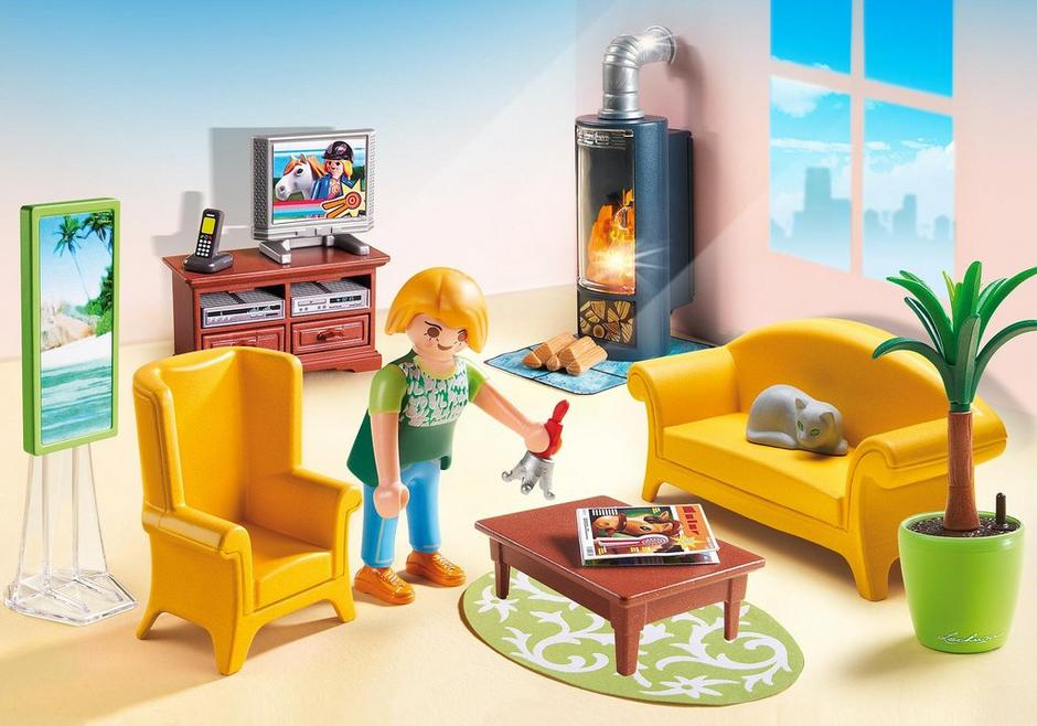 wohnzimmer mit kaminofen 5308 playmobil deutschland. Black Bedroom Furniture Sets. Home Design Ideas