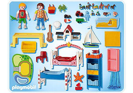 5333-A Chambre des enfants avec lits décorés detail image 2
