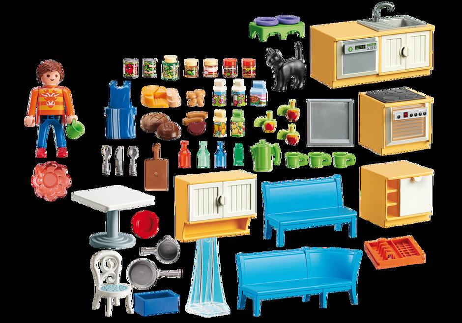 Cuisine avec coin repas 5336 playmobil france for Salle a manger playmobil city life
