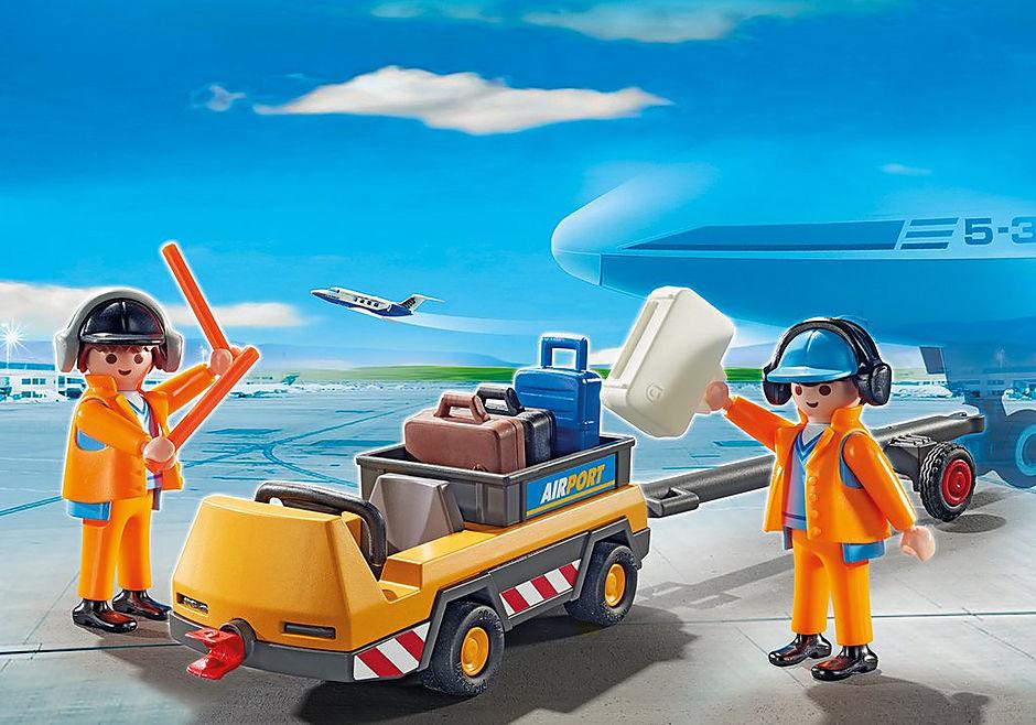 5396 Veicolo trasporto bagagli con addetti pista detail image 1