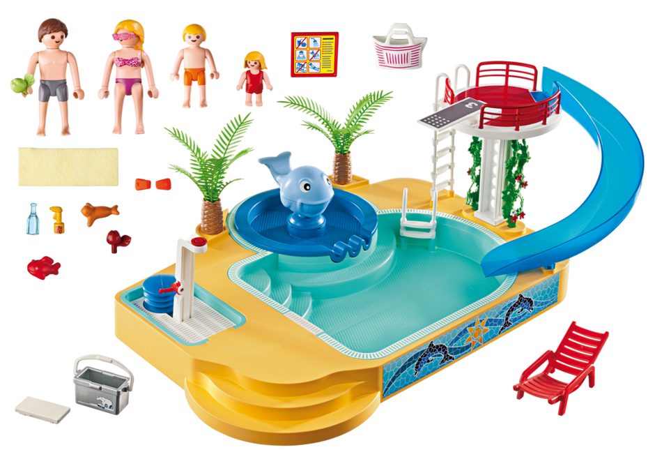 Children s pool with whale fountain 5433 playmobil usa for Piscine playmobil