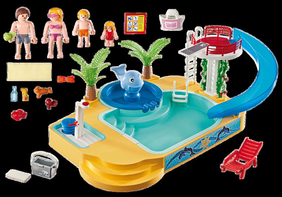 Famille avec piscine et plongeoir 5433 playmobil france for Playmobil piscine