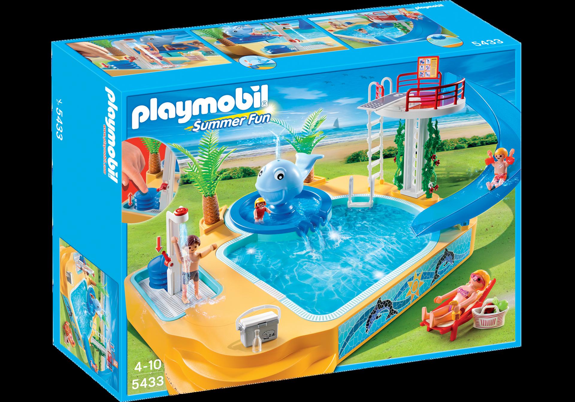 Famille avec piscine et plongeoir 5433 playmobil france for Piscine play mobile