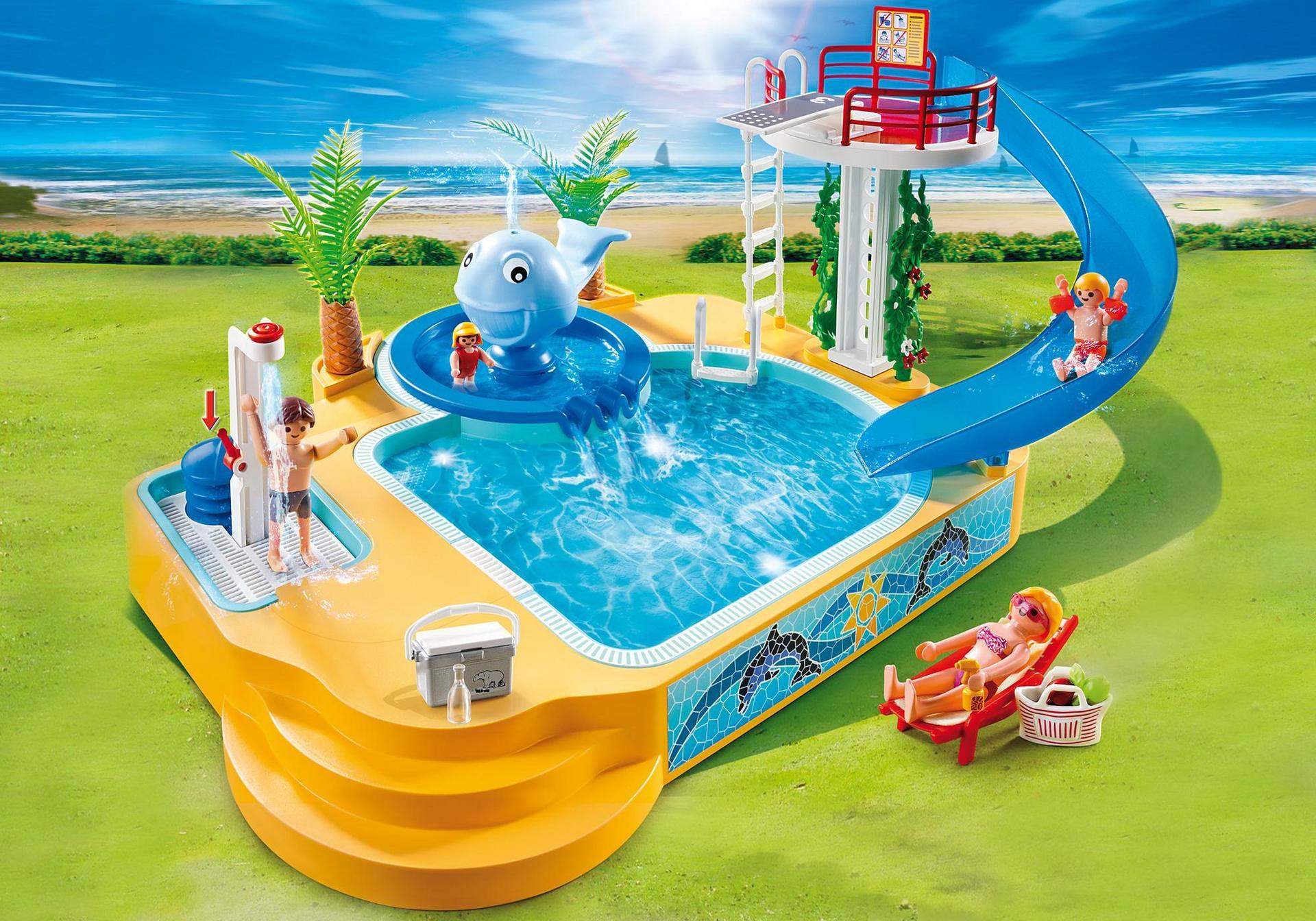 Piscina de los ni os con fuente de ballena 5433 for Playmobil piscina con tobogan
