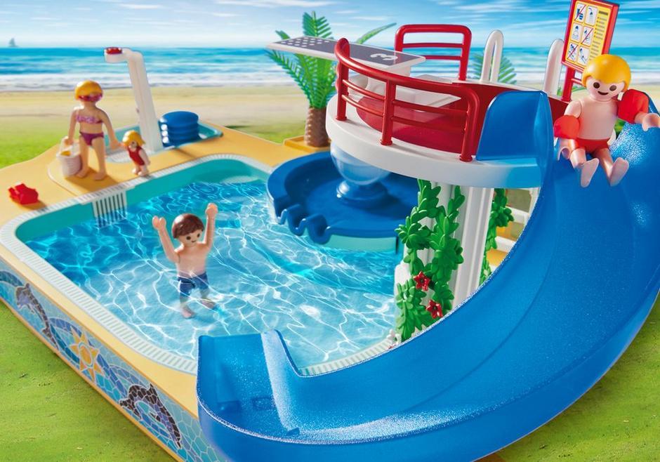Famille avec piscine et plongeoir 5433 playmobil suisse for Piscine play mobile