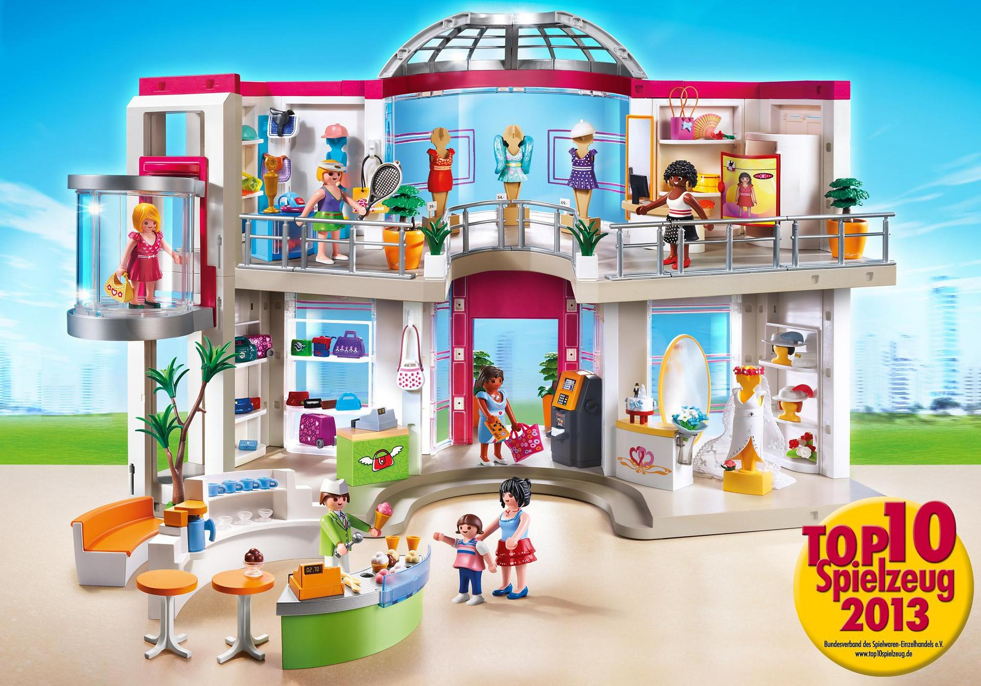 Shopping center mit einrichtung 5485 playmobil for Playmobil modernes haus 9266