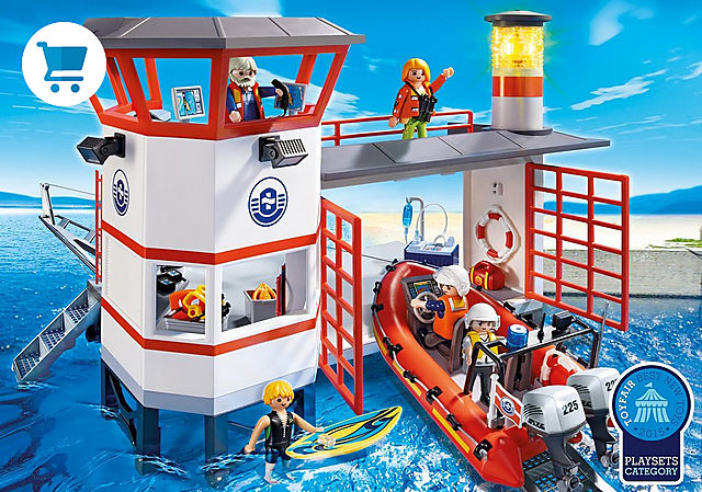 5539_product_detail/Coast Guard Station with Lighthouse